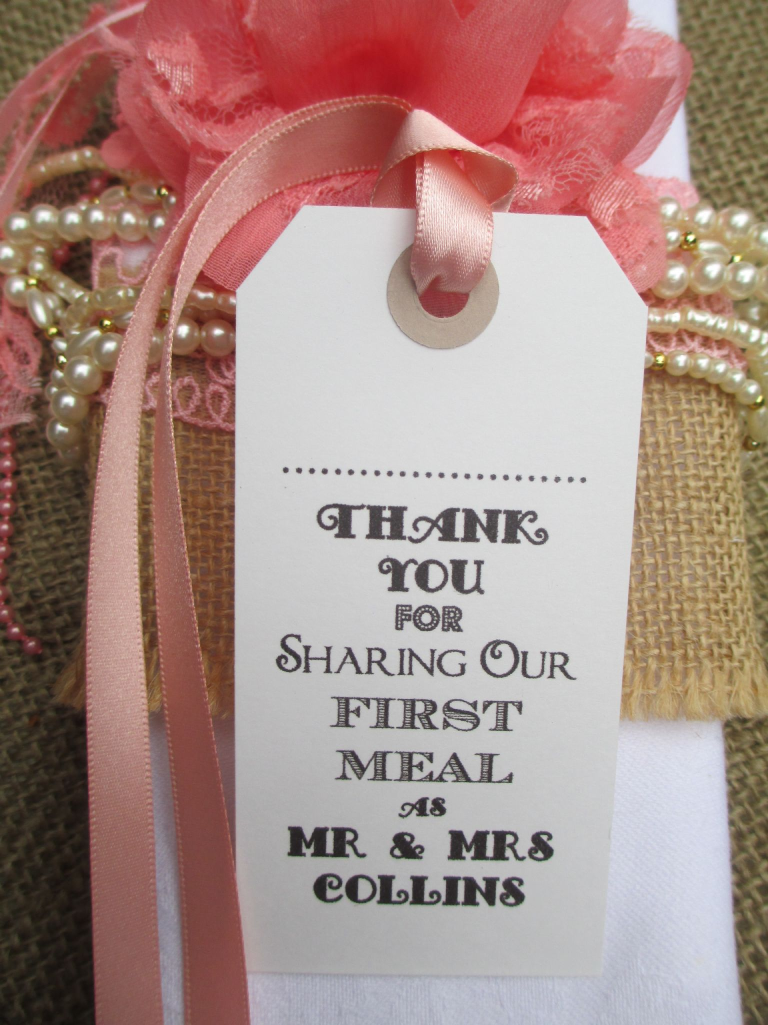 10 Wedding Name Place Tags Table Place Setting White Napkin Tie ...